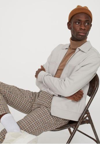 H&M beige Zipped shirt jacket E6494AABF4CE3EGS_1