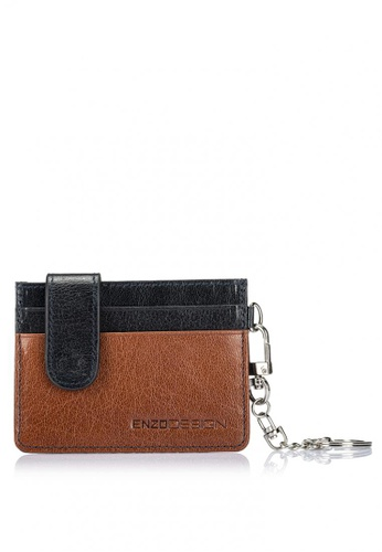 ENZODESIGN brown and navy Buffalo Leather Credit Card Holder With Detachable Key Ring EN115AC0IKXQPH_1