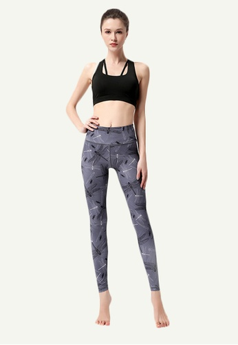 B-Code grey ZYG5036C-Lady Quick Drying Running Fitness Yoga Sports Leggings-Grey AC863AADF61809GS_1