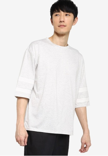 ZALORA BASICS grey Stripe 3/4 Sleeve Boxy T-Shirt 560D5AAA9D257AGS_1