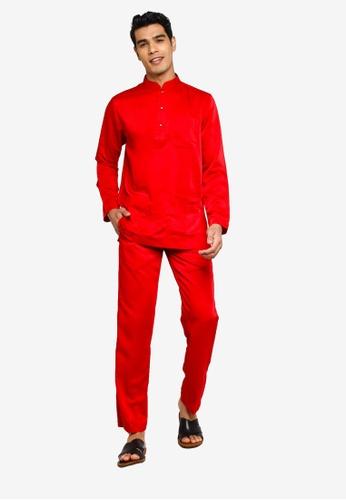 Fidelio red Jaspar Baju Melayu Slim Fit 3DA84AA9558963GS_1