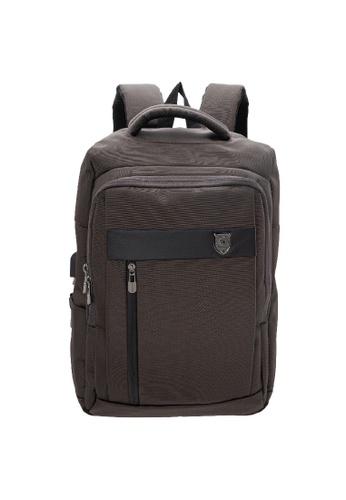 LancasterPolo brown LancasterPolo Multi-Functional Shoulder Bag Laptop Backpack USB Port Bag -PBK 9979 23C44AC551C5EBGS_1