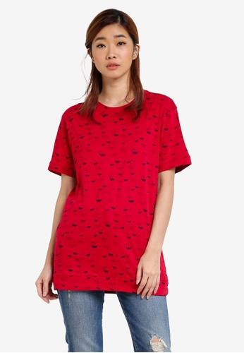 UniqTee red Printed Tee UN097AA0S22TMY_1