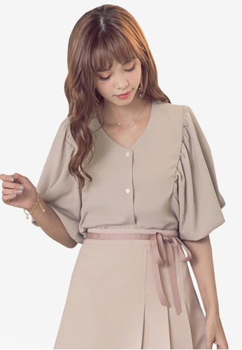 Yoco beige Button Front Short Bell Sleeve Top 4AE94AA234D0B9GS_1