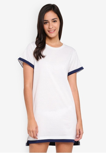 Something Borrowed white Contrast Panelled Tee Dress EBBBCAA743D6E6GS_1