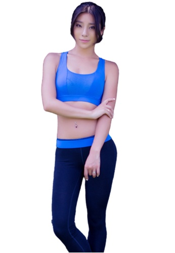 LYCKA blue ZFG7004Lady Quick Drying Running Fitness Yoga Sports Bra -Blue 90D89US1A3B036GS_1