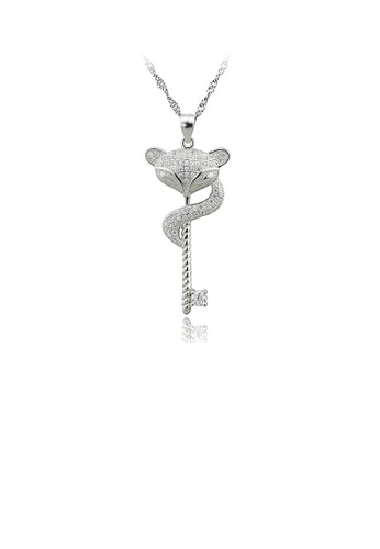Glamorousky white 925 Sterling Silver Fox Pendant with Austrian Element Crystal and Necklace 8519FAC6682EC9GS_1