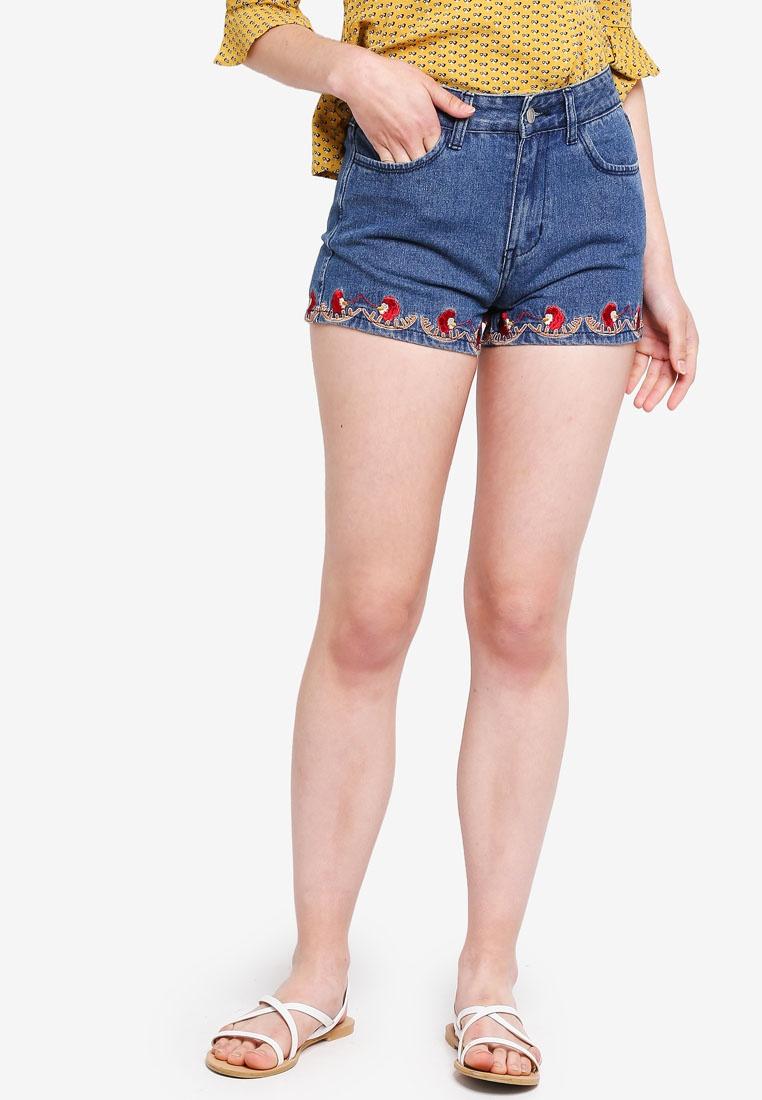 Borrowed Embroidered Denim Something Blue Shorts Hem Dark 8dRqqnBw