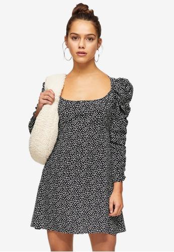 TOPSHOP multi Petite Black And White Spots Elasticated Neck Tea Dress 4EA2CAA149E11AGS_1