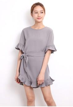 Ruffle Trims Mini Dress