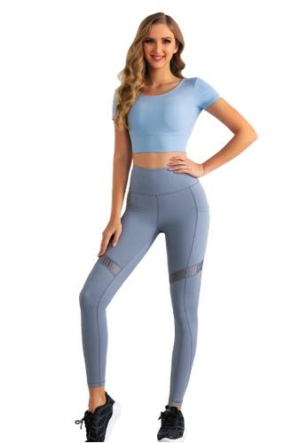 B-Code blue ZUU3011-Lady Quick Drying Running Fitness Yoga Leggings-Blue 7DF06AAAA0BA9CGS_1