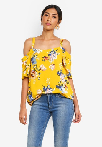 Dorothy Perkins yellow Ochre Frill Cold Shoulder Top 536FAAACDB7F46GS_1