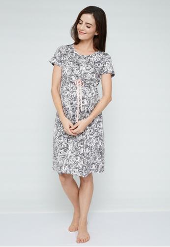 9months Maternity grey Dark Grey Sleepwear Drawstring Nursing Dress BF860AAC8E6566GS_1