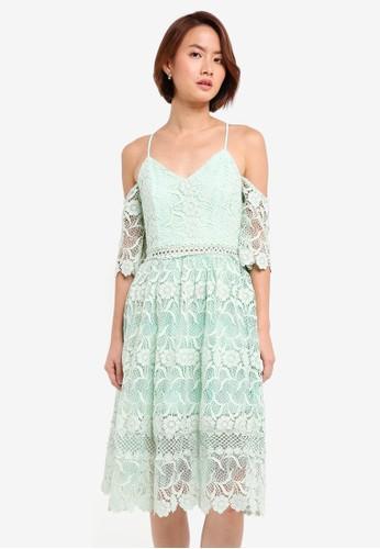 True Decadence green Off Shoulder Lace Dress 016AAAA94FE4E1GS_1