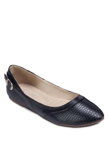側扣環帶壓紋平底鞋zalora 心得 ptt, 女鞋, 鞋
