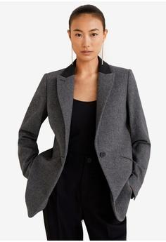 39a771bd297 Mango grey Structured Wool Blazer FA2DDAADE6AA3EGS 1