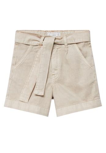 MANGO KIDS brown Tie Waist Cotton-Blend Shorts 2A15FKAA0CE5C9GS_1