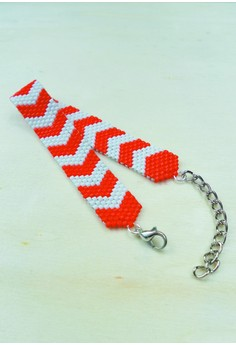 Orange Chevron Beaded Bracelet
