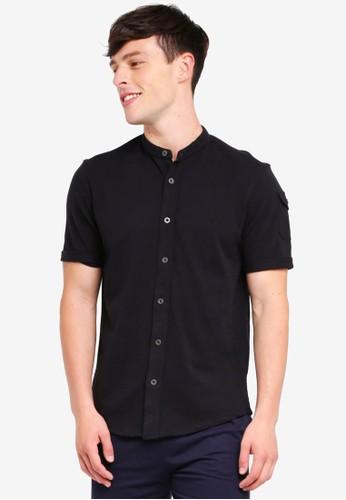 Brave Soul black Mandarin Collar Short Sleeve Shirt A255DAA1F8C853GS_1