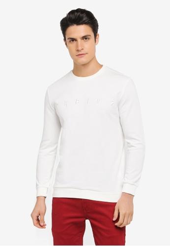 ZALORA white Embroidered Prblms Sweatshirt 3AE6FAA1CBB9ADGS_1