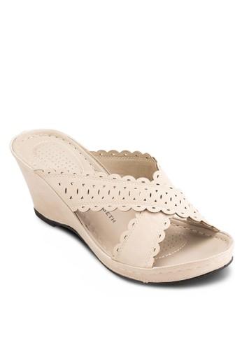 鏤空沖孔帶懶esprit mongkok人楔型鞋, 女鞋, 鞋