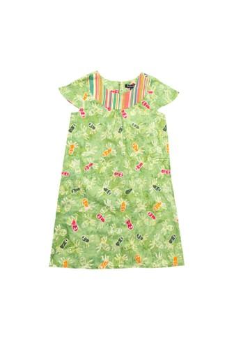 Bateeq green Girl Dress, Short Sleeves, Cotton Cap 9B7C1KA1090C47GS_1