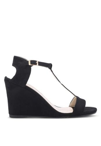 ZALORA 黑色 露趾繞踝楔型鞋 29465SH083DDB6GS_1
