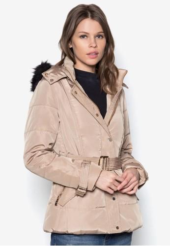 腰帶軟襯連帽冬esprit taiwan裝外套, 服飾, 防風外套 & 罩衫