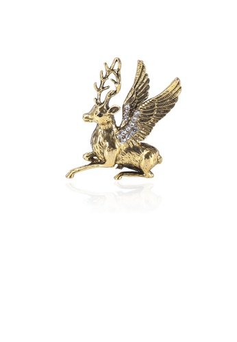 Glamorousky white Fashion Personality Plated Gold Elk Wings Brooch with Cubic Zirconia 35F93AC466B9E5GS_1