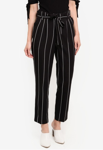Miss Selfridge black and multi Striped Paperbag Trousers 9E224AAFE228A2GS_1