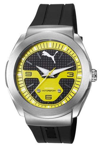 Puma black PU103931003 Roadster Silver Black Yellow PU Strap Men Watch PU549AC0S7I5MY_1