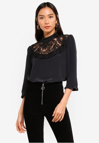 6d74168c418e3 Buy Dorothy Perkins Black Lace Yoke Top Online on ZALORA Singapore