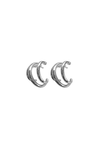CINDERTOELLA silver Cindertoella Lana Triple Hoop Silver Minimalism Simple Alloy Silver925 Post Statement Earrings BFB85AC2FB582FGS_1