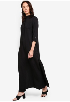 dd2ebfdb26 ZALIA BASICS black Button Up Side Slit Abaya BD4CCAA8205969GS_1