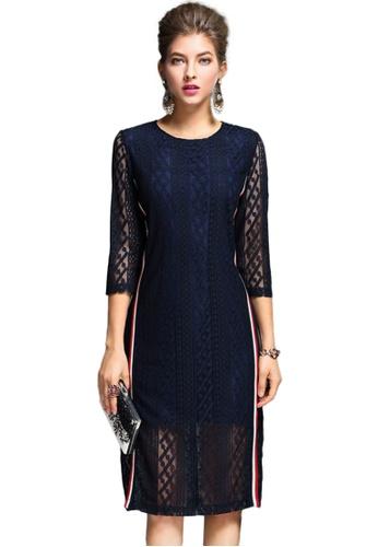 Sunnydaysweety blue Dark Blue Lace See Through One Piece Dress K20042715 43229AAEB078E2GS_1