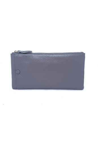 BELLE LIZ grey Simple Zip Leather Clutch Purse Grey 97E86AC72177AAGS_1