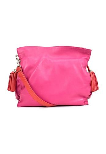 LOEWE pink PRE-LOVED LOEWE PINK WITH RED LEATHER BUCKET BAG WITH DRAWSTING TASSELS EFD16ACFC6129BGS_1