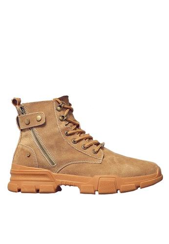 Twenty Eight Shoes 褐色 豬巴皮側拉鏈中筒靴 VMB1117 9CB12SHD2B8F83GS_1