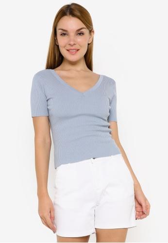 JACQUELINE DE YONG blue Nanna Short Sleeve V-Neck Pullover 6E8D2AA32C0B03GS_1