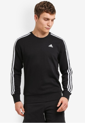adidas black adidas Performance ESS 3S Crew FT Sweatshirt 36319AA8DA3125GS_1
