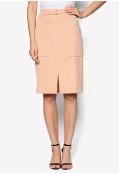 【ZALORA】 Collection 方形口袋鉛筆裙