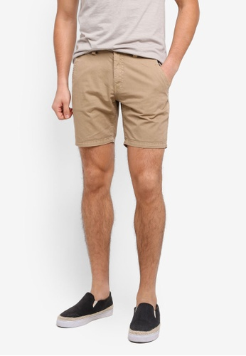"""ZALORA brown 7"""" Garment Washed Shorts With Flap Pockets F6939AA738AD31GS_1"""