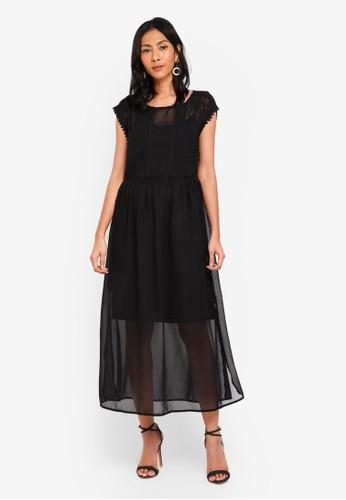 OVS black Long Dress With Beads 41047AA36E2FD4GS_1