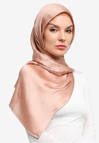 VERCATO pink Pallure Premium Pleated Allure Satin Shawl 387D9AAC567B2BGS_1