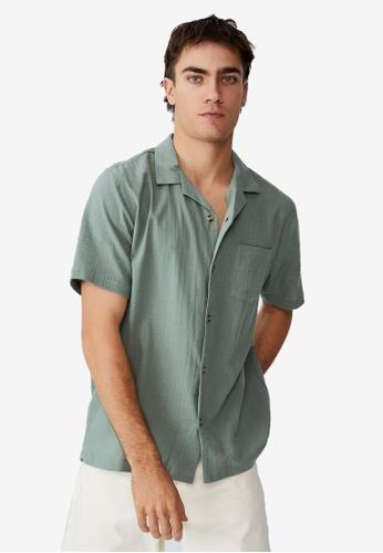 Cotton On green Riviera Short Sleeve Shirt 7A623AA3FE46DBGS_1