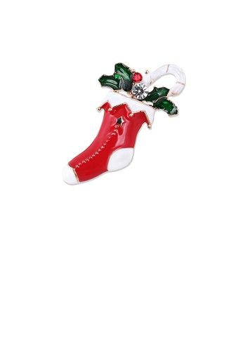 Glamorousky white Fashion Personality Plated Gold Christmas Socks Brooch with Cubic Zirconia E38F8AC45D7BC8GS_1
