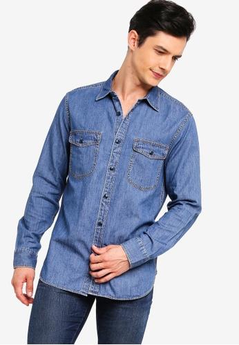 J.Crew 藍色 經典輕巧牛仔襯衫 25129AA01F63CBGS_1
