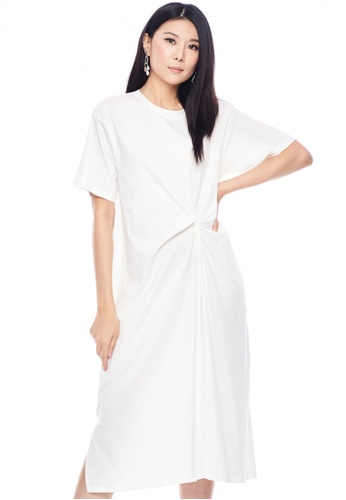 Nichii white Basic Knotted Bell Sleeve Dress EBCD1AAB0A18BDGS_1