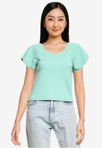 Heather green Plain T-Shirt 01D0EAA4183886GS_1