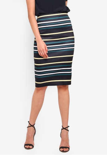 Dorothy Perkins blue Black Stripe Pencil Skirt F108FAA8FCAB9FGS_1